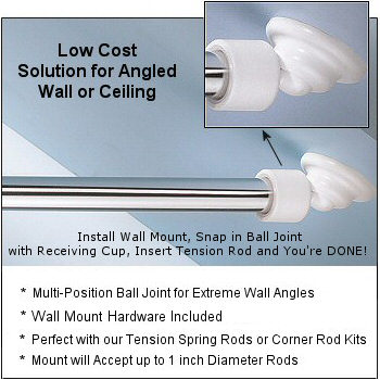 Angled Shower Rod Wall Mount Low Cost Sloped Or Angled