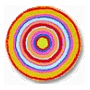 Stylish vibrant multi color round rugs available in saffron orange or black and grey with matching shower curtain